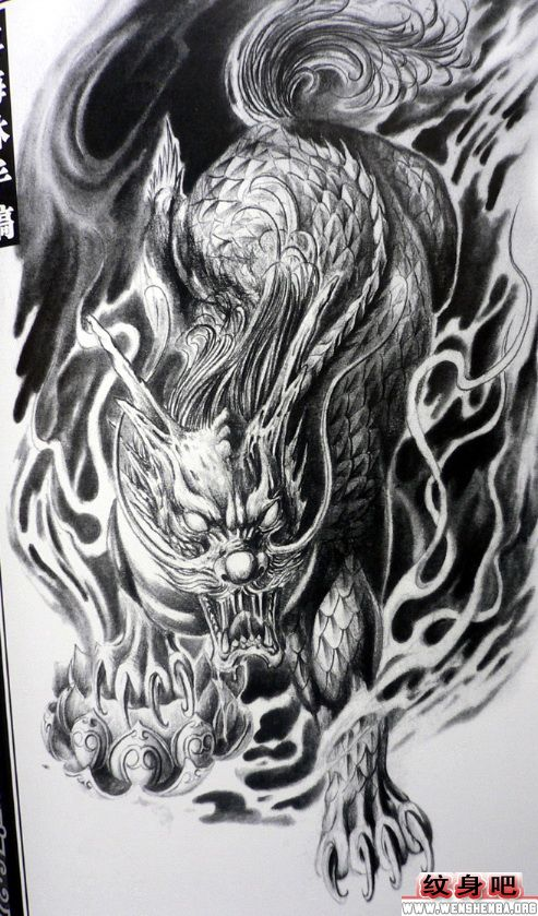 经典五彩麒麟纹身手稿图片