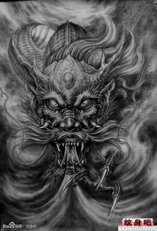 超酷霸气的满背龙纹身手稿