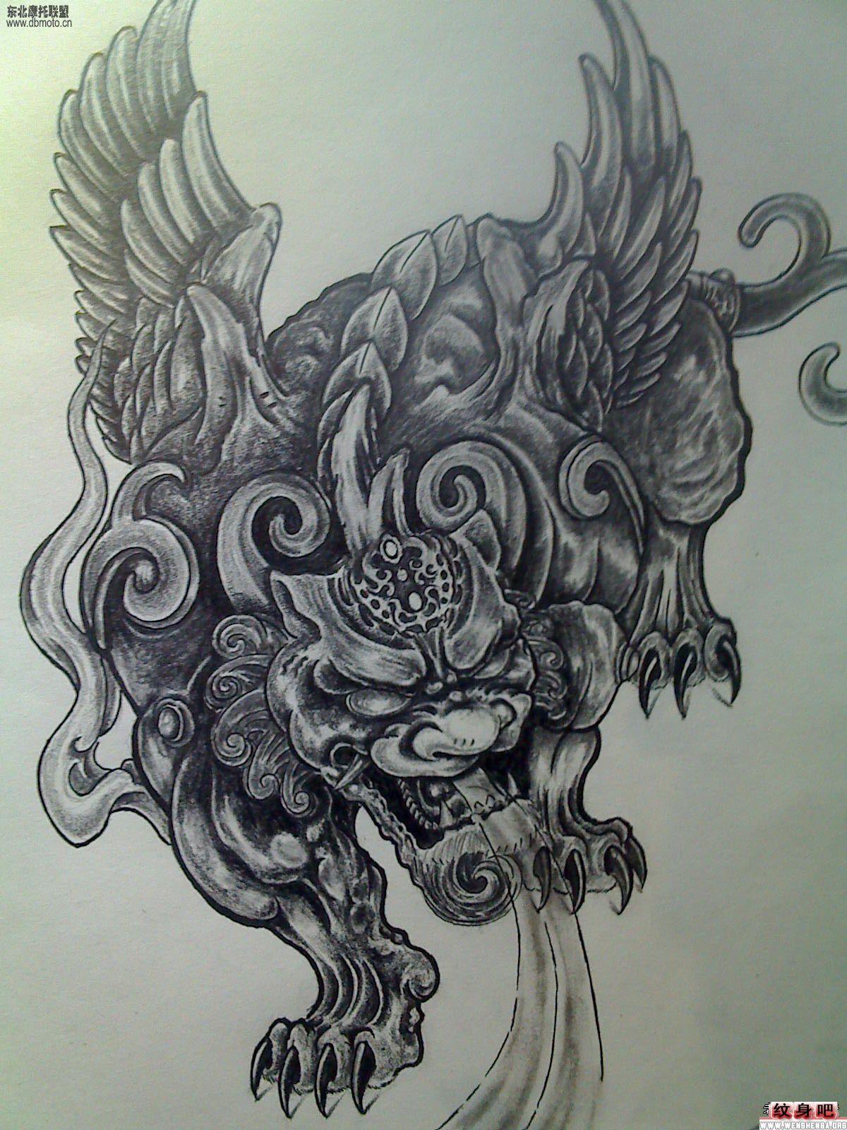 一款经典的佛头面具纹身图案_画画大全