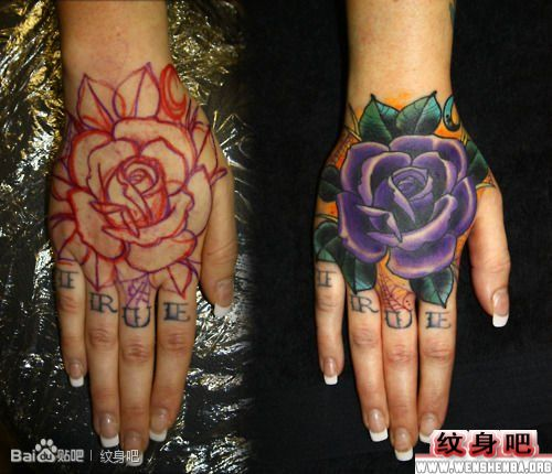 手臂帅气的玫瑰花纹身图案