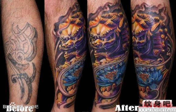 彩色石狮子腿部纹身