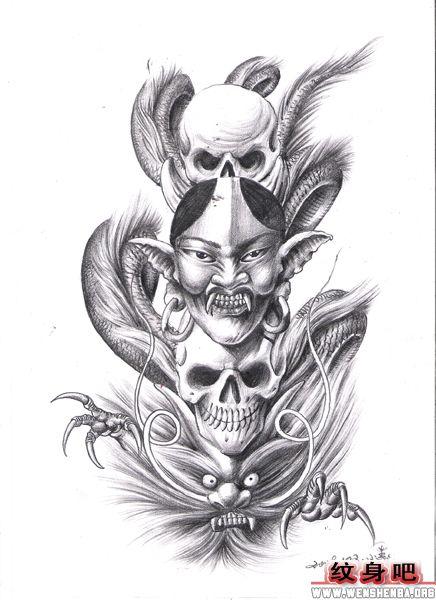般若龙骷髅纹身图案