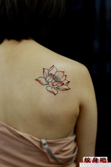 女人肩背唯美的莲花纹身作品
