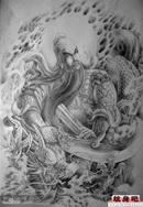 男人超酷的满背龙关公纹身图案