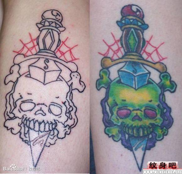 小巧的匕首与骷髅纹身图案