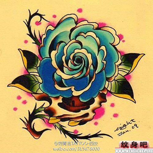 欧美风格的玫瑰花纹身手稿