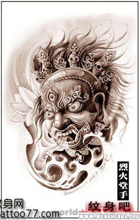 纹身手稿:菩萨头像