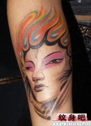 传统花旦美女纹身作品