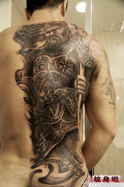 半背关公纹身图案