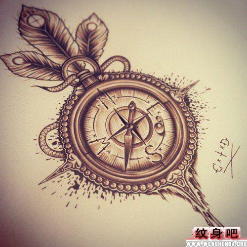 时尚唯美的指南针纹身手稿
