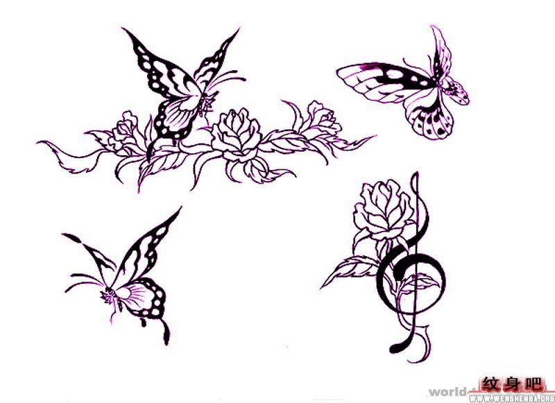 图腾蝴蝶音符玫瑰纹身图片