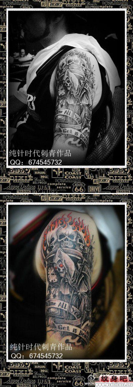 死神纹身图案大全 > 正文            男人手臂黑灰骷髅纹身图案