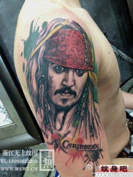 手臂杰克船长纹身作品
