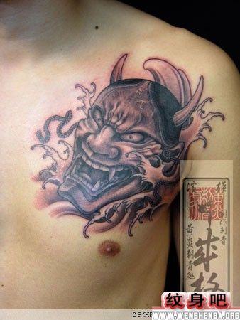 日本纹身图案:胸部般若